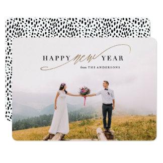 New Year Script Faux Gold Holiday Photo Card 13 Cm X 18 Cm Invitation Card