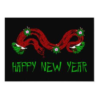 New Year Snake 13 Cm X 18 Cm Invitation Card