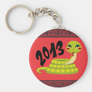 New Year Snake Basic Round Button Key Ring