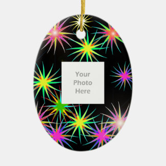 New Year Star Blast Black (add photo) Christmas Ornament