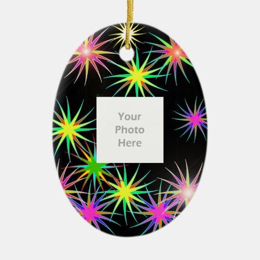 New Year Star Blast Black (add photo) Christmas Tree Ornaments