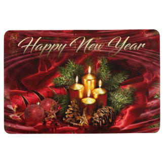 New Year theme with water ripples abstract design Floor Mat