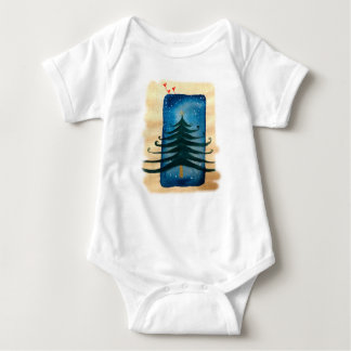 New Year Tree Baby Jersey Bodysuit, White Baby Bodysuit