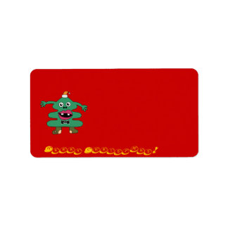 New Year Tree Cute Monster  Label Address Label