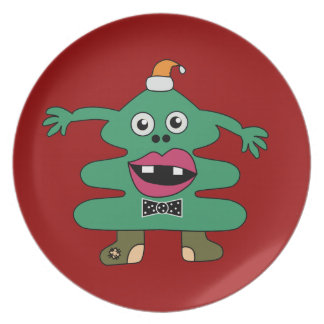 New Year Tree Cute Monster Plate