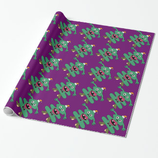 New Year Tree Cute Monster Wrapping Paper