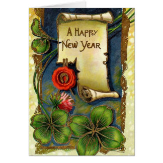 New Year With Four Leaf Clover Card