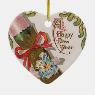 New Year With Pin Bonbon Ceramic Heart Decoration