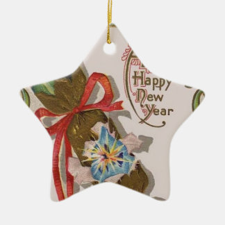 New Year With Pin Bonbon Ceramic Star Decoration