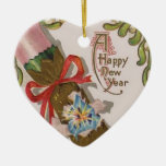 New Year with Pink Bonbon Ceramic Heart Decoration