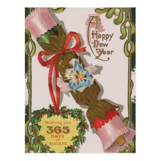New Year with Pink Bonbon Post Card