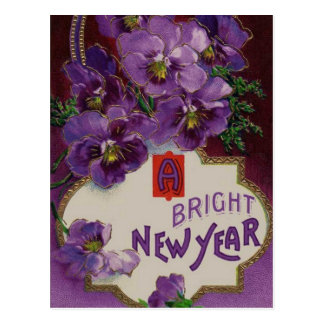 New Year With Purple Flowers Post Card
