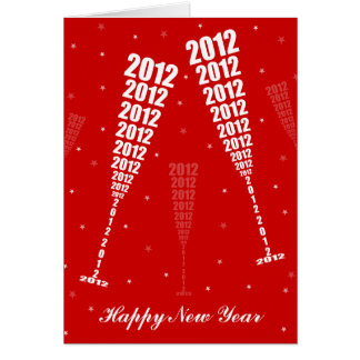 New Year's 2012 Celebration - Wine Glass Toasting Greeting Card