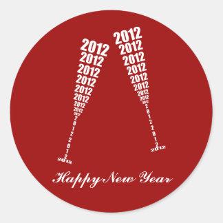 New Year's 2012 Celebration - Wine Glass Toasting Round Sticker