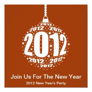 New Year's 2012 Stylish Ornament Design 13 Cm X 13 Cm Square Invitation Card