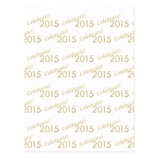 New Year's 2015 Gold Glitter on White Postcard