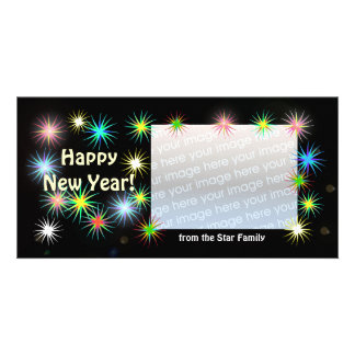 New Years Black Starblast Personalised Photo Card