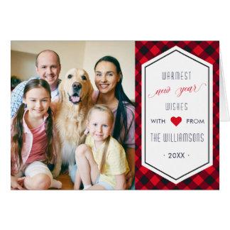 New Years Buffalo Plaid Holiday Greeting Photo Card
