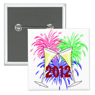 New Year's Champagne And Fire Works Button