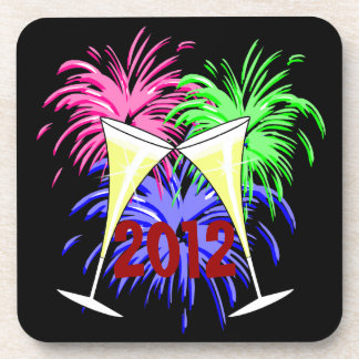New Year's Champagne And Fire Works Square Coaster
