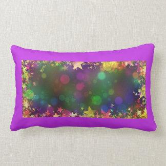 New Year's confetti stars purple pillow