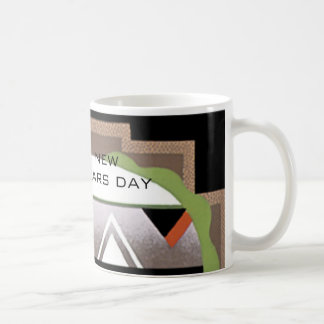 New Years Day Art Deco Coffee Mug by Janz Basic White Mug