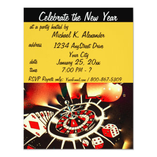 New Year's Eve Casino Theme Party 11 Cm X 14 Cm Invitation Card