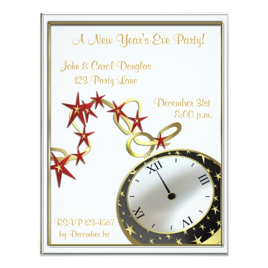 New Year's Eve Clock Invitation