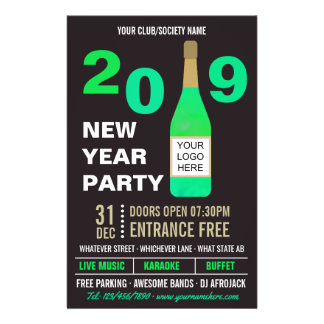 New Years Eve Club/Society Bash add Logo and Photo Flyer