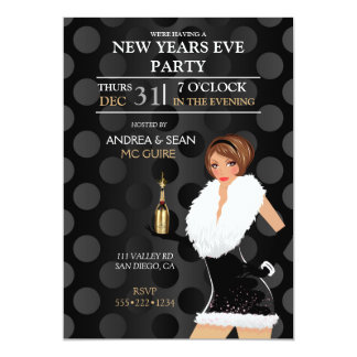 New Years Eve Fashion Girl Holiday Dress 13 Cm X 18 Cm Invitation Card