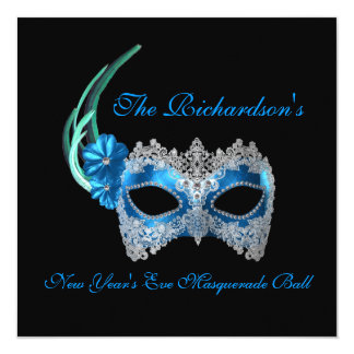 """New Year's Eve Masquerade Ball"" - Blue Mask [1] 13 Cm X 13 Cm Square Invitation Card"