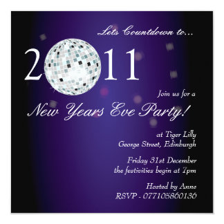 New Years Eve Party Disco Ball 13 Cm X 13 Cm Square Invitation Card