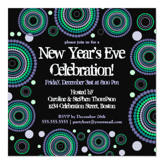 New Years Eve Party Dizzy Dots Invitation