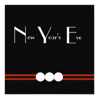 New Years Eve Party in Black and White Custom 13 Cm X 13 Cm Square Invitation Card