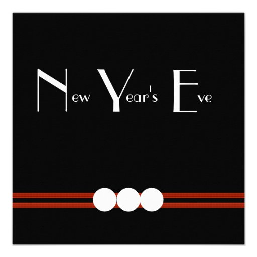 New Years Eve Party in Black and White Personalized Invitations