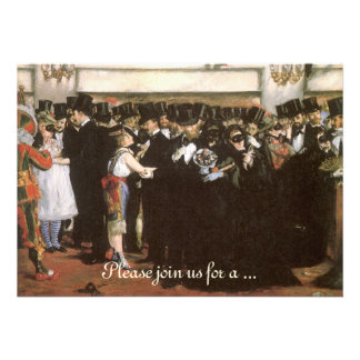 New Year's Eve Party, Masked Ball Opera by Manet Personalized Invitation