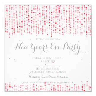 New Years Eve Party Star Confetti Red 13 Cm X 13 Cm Square Invitation Card