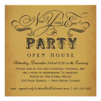 New Year's Eve Party Vintage Invitations
