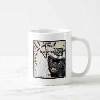 New Year's Eve pug dog Basic White Mug