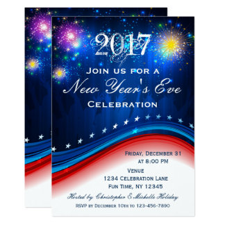 New Year's Eve Red White Blue Patriotic Invitation