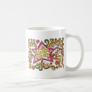 New Year's Eve Star, pen/ink design Basic White Mug