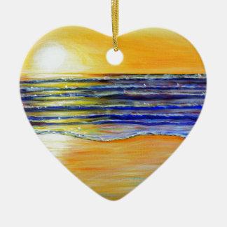 New Year's Eve Sunset Ceramic Heart Decoration