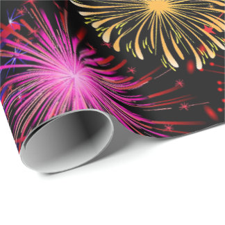 New Years fireworks party pattern wrap Wrapping Paper