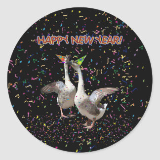 New Year's Geese Classic Round Sticker