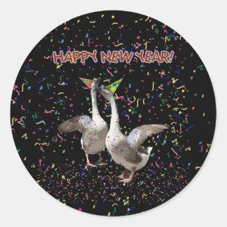 New Year's Geese Round Sticker