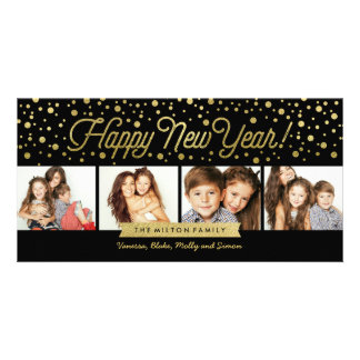 New Years Gold Dots 4-Photo Card Personalized Photo Card