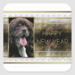 New Years - Golden Elegance - Cocker Spaniel Square Stickers