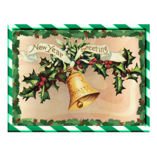 NEW YEARS & GREEN STRIPES by SHARON SHARPE Postcard