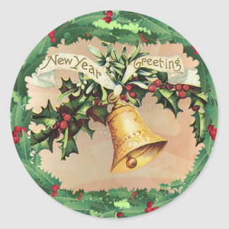 NEW YEARS GREETINGS & HOLLY by SHARON SHARPE Round Sticker