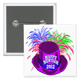 New Year's Hat And Fire Works Button